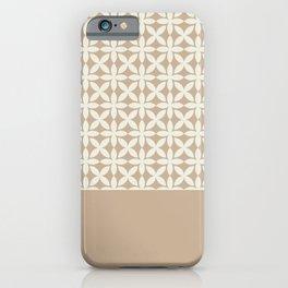 Pantone Cannoli Cream Square Petal Pattern on Pantone Hazelnut iPhone Case