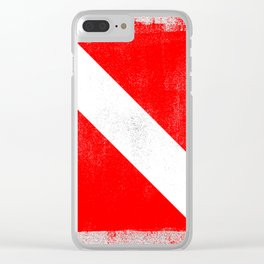 Diver Down Distressed Halftone Denim Flag Clear iPhone Case