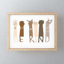 Be Kind Sign Language Hand Talking Teachers Interpreter ASL T-Shirt Framed Mini Art Print
