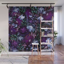 Deep Floral Chaos blue & violet Wall Mural