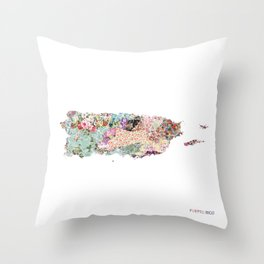 Puerto Rico map Throw Pillow