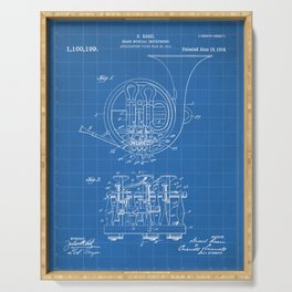 French Horn Patent - Horn Player Art - Blueprint Serving Tray