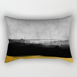 Black and Gold grunge stripes on modern grey concrete abstract backround I - Stripe - Striped Rectangular Pillow