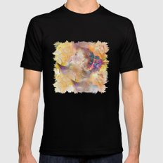 profile woman and flowers Mens Fitted Tee MEDIUM Black