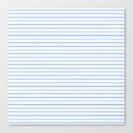 Mattress Ticking Narrow Horizontal Stripe in Pale Blue and White Canvas Print