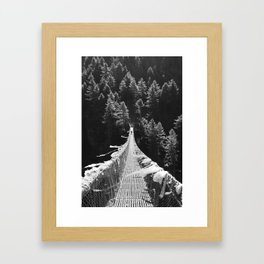 Man walking on the Tibetan bridge Framed Art Print
