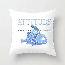Attitude of a Shark Fish Confidence Self Belief Throw Pillow