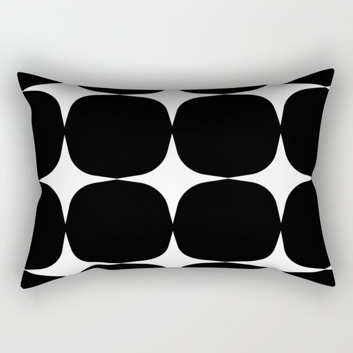 Retro '50s Shapes in Black and White Rectangular Pillow