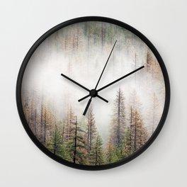 Misty Forest Scene Wall Clock