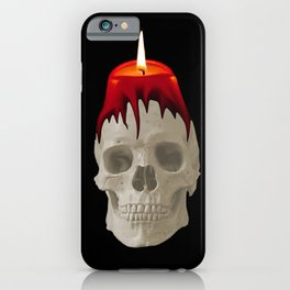 Halloween Skull with candle  black background iPhone Case