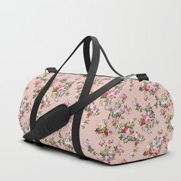 Modern Vintage Pink Coral Green Floral Pattern Duffle Bag
