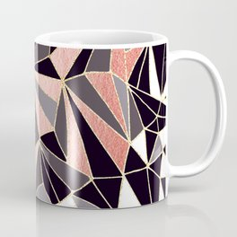 Stylish Art Deco Geometric Pattern - Black, Coral, Gold #abstract #pattern Coffee Mug