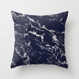 Modern navy blue silver marble pattern Throw Pillow