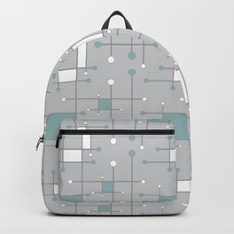 Intersecting Lines in Gray, Sea Foam and White Backpack