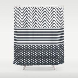 Ikat Grey Chevron Shower Curtain