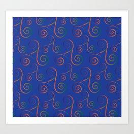 Mardi Gra Lace Rainbow on Reflex Blue Art Print