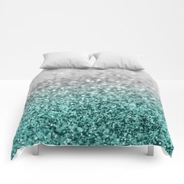 Silver Teal Ocean Glitter Glam #1 #shiny #decor #art #society6 Comforters