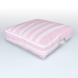 Pretty Pink White Horizontal Stripes Outdoor Floor Cushion