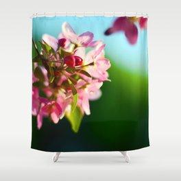 Pink Flowers Blue sky Shower Curtain