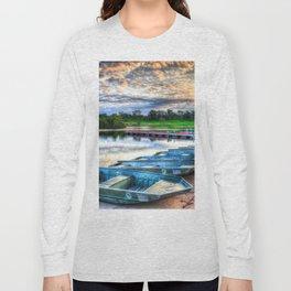 Boats, Blackwell, Silver Lake, DuPage County, Warrenville, Illinois, Sunrise Long Sleeve T-shirt