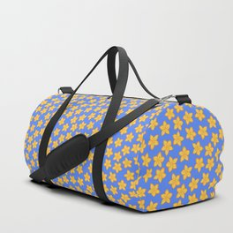Small Yellow Flowers on Blue Duffle Bag