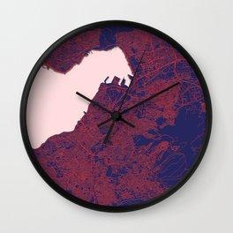 Izmir, Turkey, Blue, White, City, Map Wall Clock