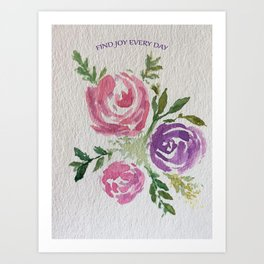 Find Joy Every Day Watercolor Flowers Art Print