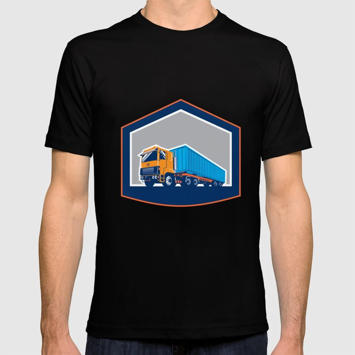 Container Truck and Trailer Shield Retro T-shirt