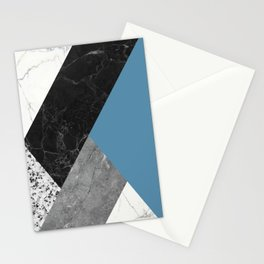 Black and White Marbles and Pantone Niagara Color Stationery Cards