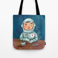 spaceman Tote Bags featuring Spaceman by Milena Milak