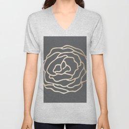 Rose White Gold Sands on Storm Gray Unisex V-Neck