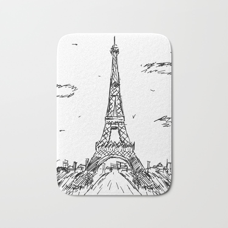 Paris Eiffel Tower Drawing Bath Mat By Pda86 Society6