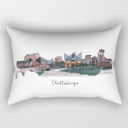 Chattanooga, Tennessee Skyline Fine Art Giclee Print Rectangular Pillow