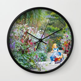 Alice and the White Rabbit in the Garden Wall Clock