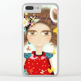 Doll Butterfly Balloons Afro Hair Flowers Clear iPhone Case