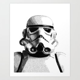 Stormtrooper Hand Drawn Dotwork - StarWars Pointillism Artwork Art Print