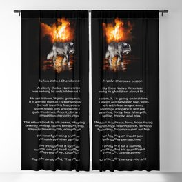 The TWO WOLVES CHEROKEE TALE Native American Tale Blackout Curtain