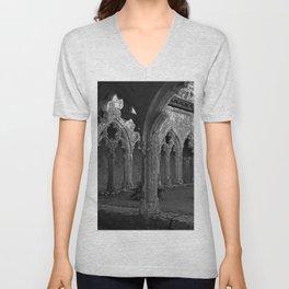 Gothic Cloister of Saint-Pierre, La Romieu, France black and white photograph / art photography Unisex V-Neck