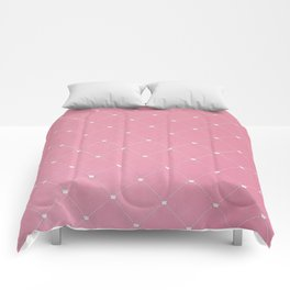 Modern coral pink white geometric pattern Comforters