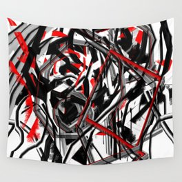 Abstract in Gray, Red, White, and Black Wall Tapestry