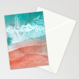 The Break - Turquoise Sea Pastel Pink Beach II Stationery Cards