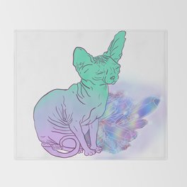 Cat With Crystals Sketch Throw Blanket