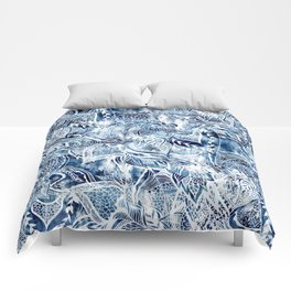 Modern navy blue tie die watercolor floral white boho hand drawn pattern Comforters