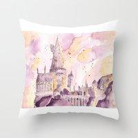 hogwarts Throw Pillows featuring hogwarts by impalei