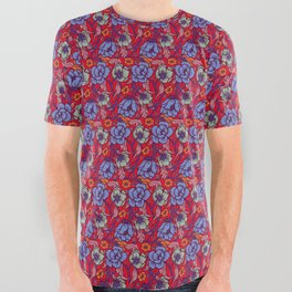 Red and blue All Over Graphic Tee