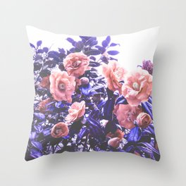 Wild Roses - Ultra Violet and Coral #decor #floral #buyart Throw Pillow