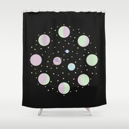 And You? - Moon Phases Illustration Shower Curtain
