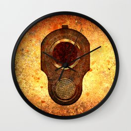 M1911 Muzzle On Rusted Background Wall Clock