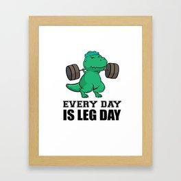 T-Rex Fitness Weights Training legs Gift Framed Art Print