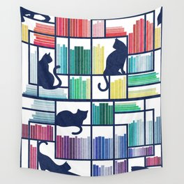 Rainbow bookshelf // white background navy blue shelf and library cats Wall Tapestry